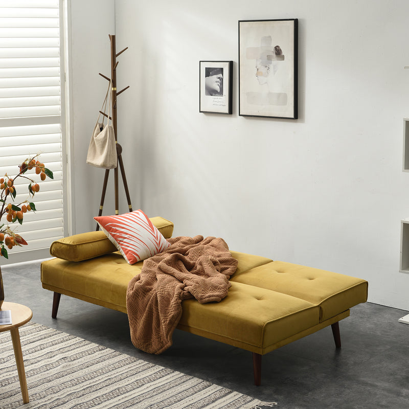 Acrux 3 Seater Sofa Bed in Mustard Velvet 6