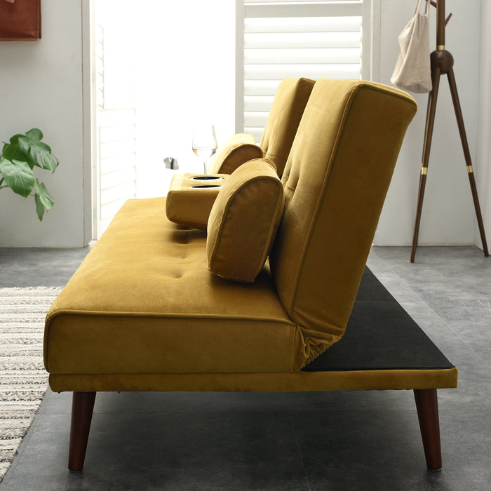 Acrux 3 Seater Sofa Bed in Mustard Velvet 7