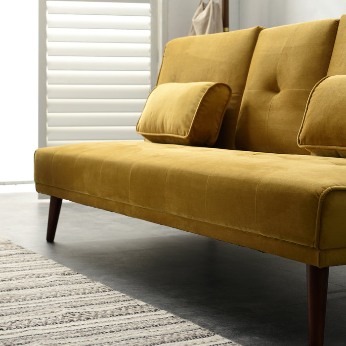 Acrux 3 Seater Sofa Bed in Mustard Velvet 9