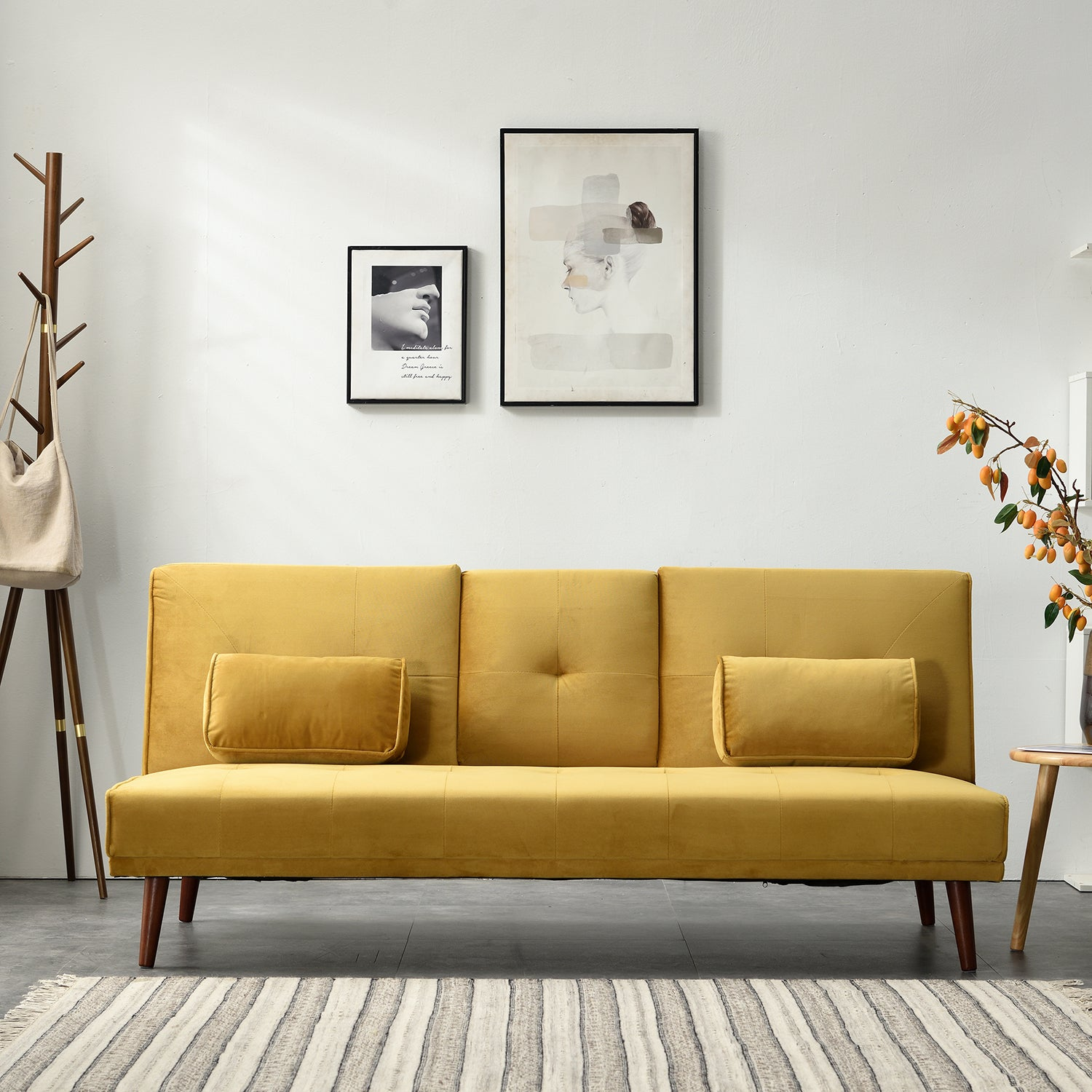 Acrux 3 Seater Sofa Bed in Mustard Velvet 1