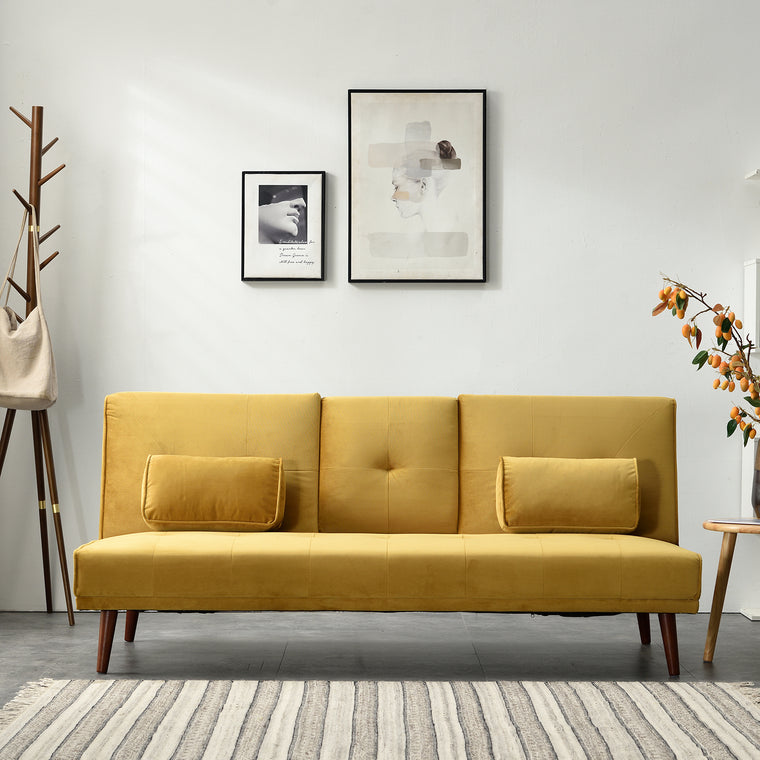 Acrux 3 Seater Sofa Bed in Mustard Velvet