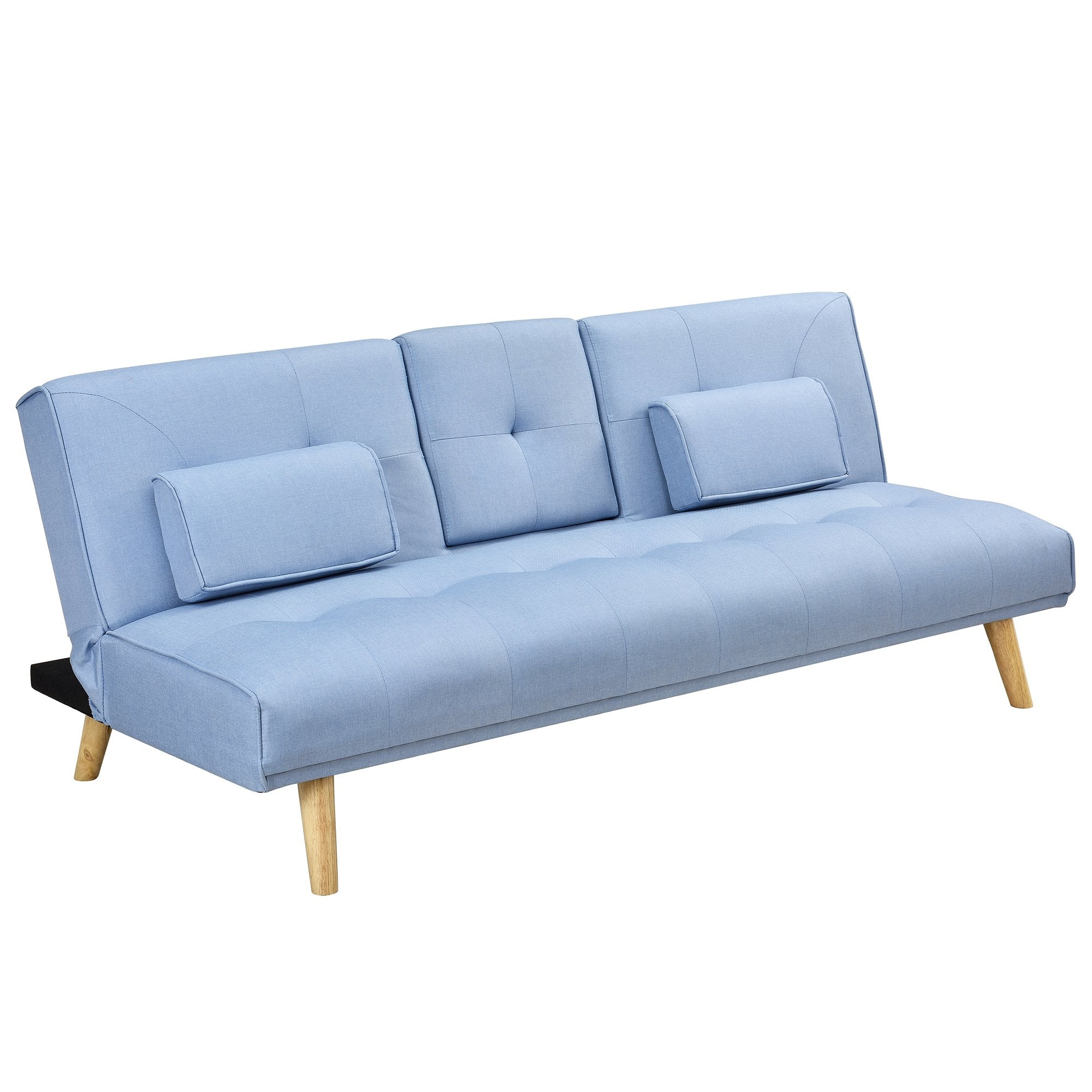Excellent Acrux 3 Seater Sofa Bed With Cup Holders Cushions Light Blue Fabric Ocoug Best Dining Table And Chair Ideas Images Ocougorg
