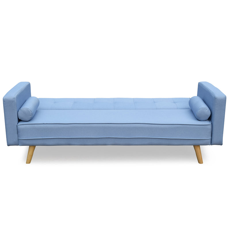 nora 3 seater fabric sofa bed sleeper sofa with cushions blue
