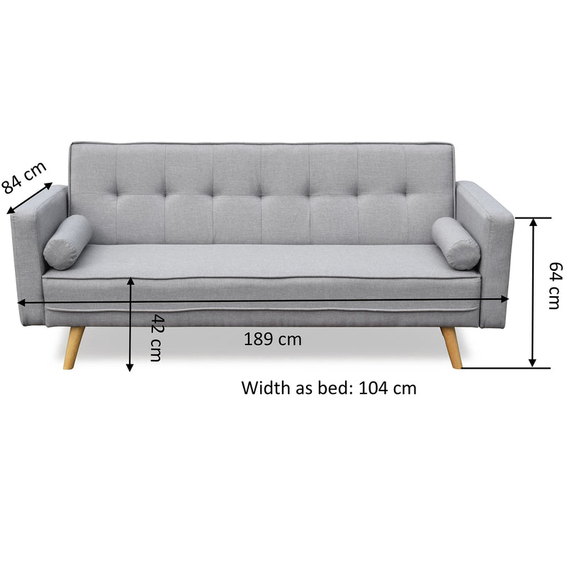 NORA 3-Seater Fabric Sofa Bed Sleeper Sofa with Cushions, Grey