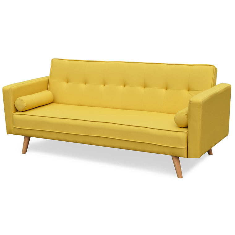 NORA 3-Seater Fabric Sofa Bed Sleeper Sofa with Cushions, Yellow