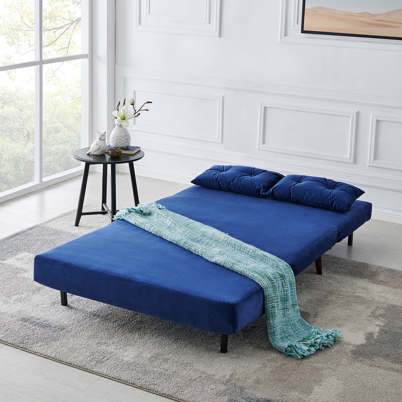 Algo Sofabed with Cushions in Blue Velvet 2 Seater 2