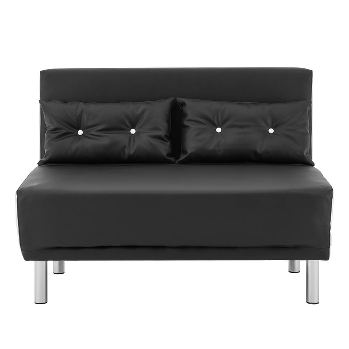 ALGO 2-Seater Small Double Folding Sofa Bed with Cushion Black and White PU Leather