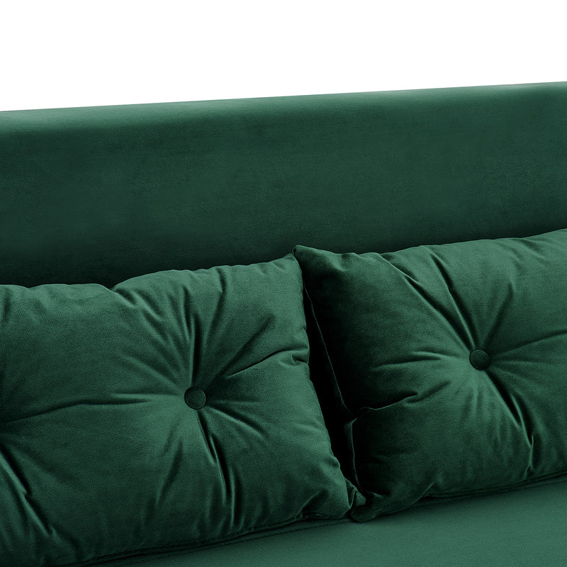 ALGO 2-Seater Small Double Folding Sofa Bed with Cushion Pine Green Velvet