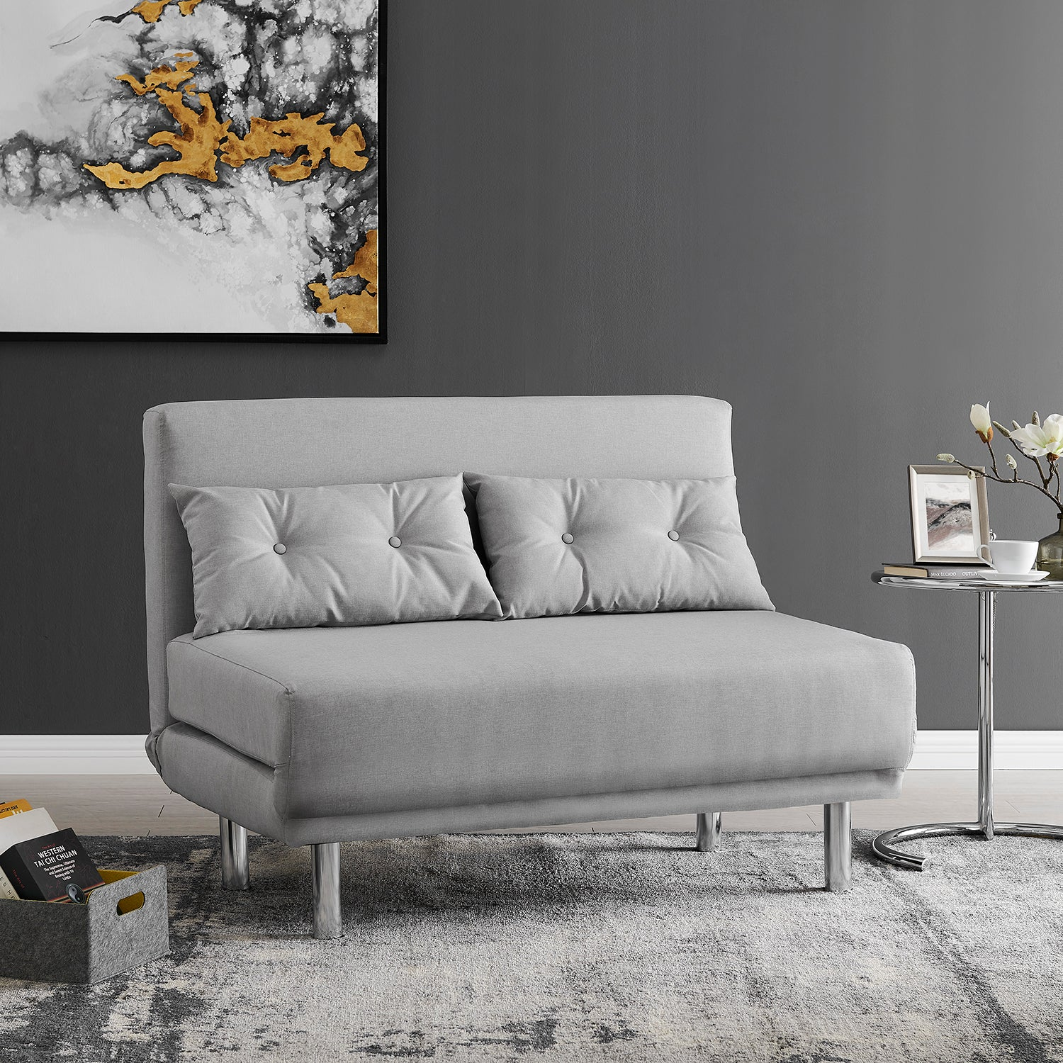 Picture of: Algo 2 Seater Small Double Folding Sofa Bed With Cushion Grey Fabric Shop Designer Home Furnishings