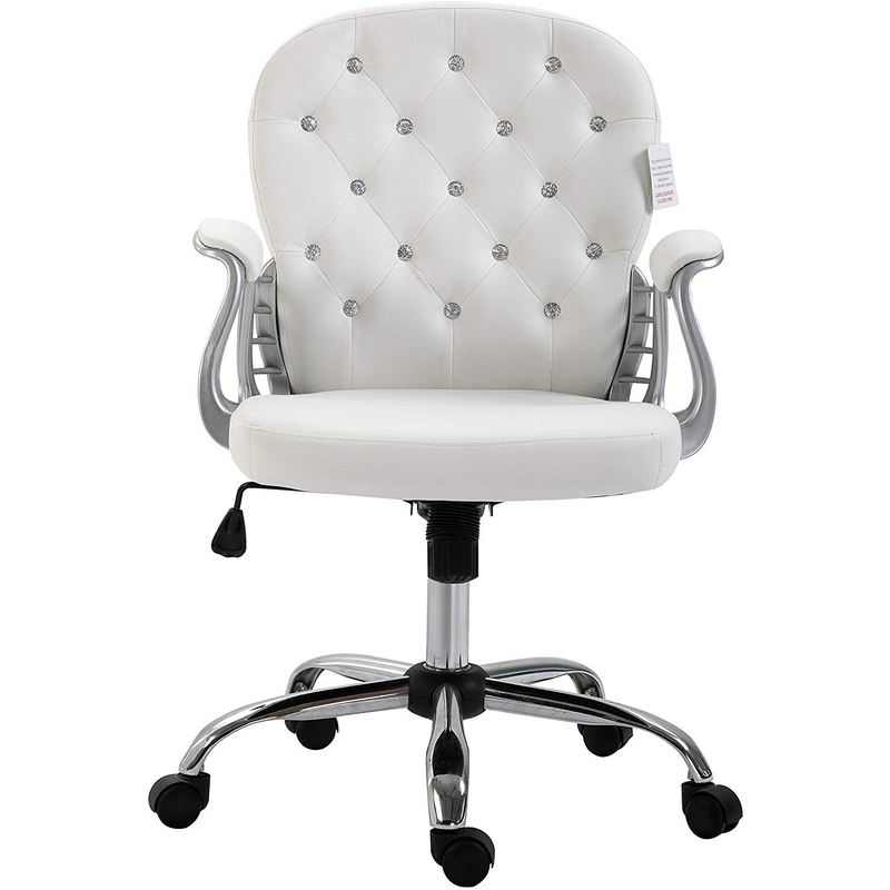 White Faux Leather Chesterfield Swivel Chair