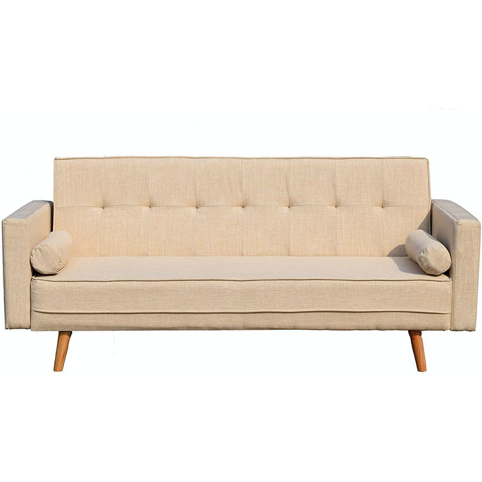Cherry Tree Furniture NORA 3-Seater Fabric Sofa Bed Sleeper Sofa with Cushions Beige