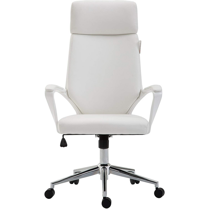 Cherry Tree Furniture High Back Modern Design PU Leather Swivel Office Chair Computer Desk Chair, MO68 White