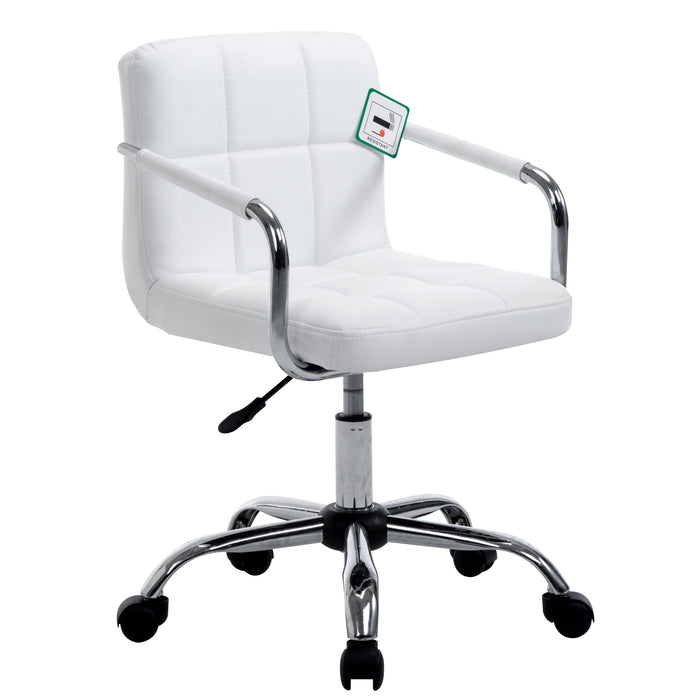 faux leather chrome base height adjustable swivel chair with removable armrests in pair white