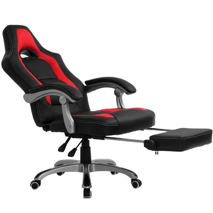 CTF Racing Sport Reclining High Back Swivel Chair with Foot Stool, Black & Red