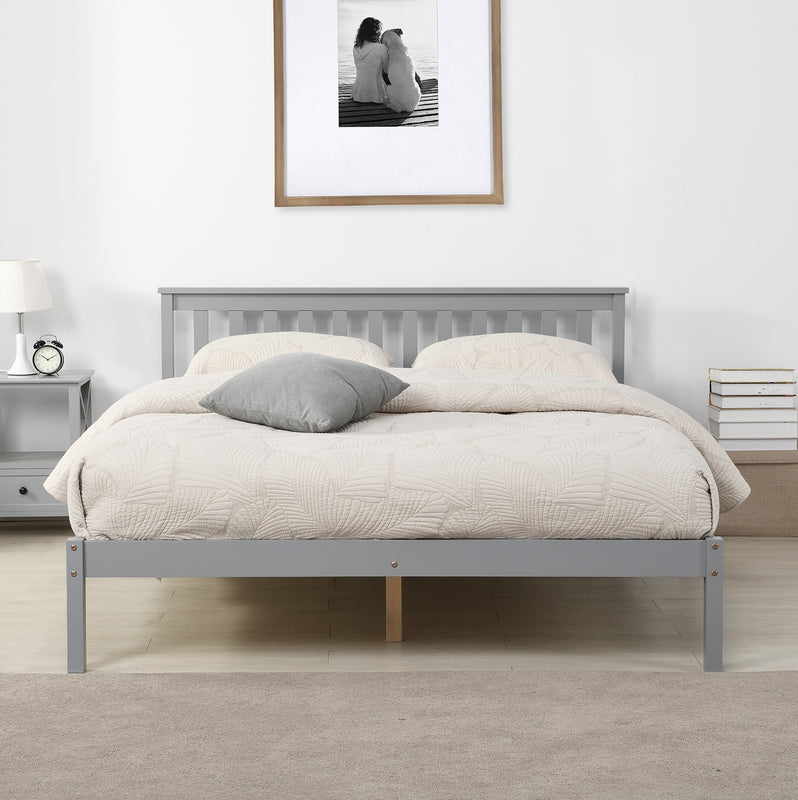 Linnelle FSC Certified Solid Wood Bed Frame in Grey UK King 3