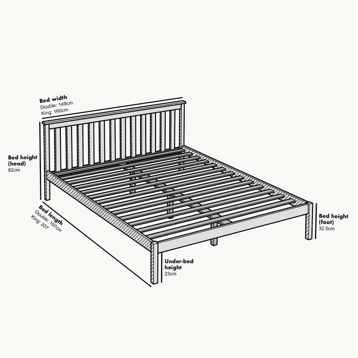 Linnelle FSC Certified Solid Wood Bed Frame in Grey UK King 6
