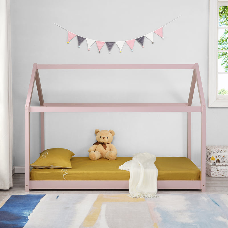 Bethwin FSC Certified Solid Wood House Bed in Pink 2