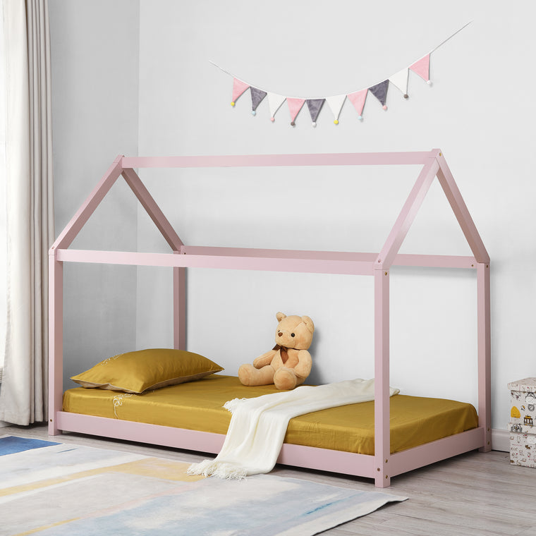 Bethwin FSC Certified Solid Wood House Bed in Pink