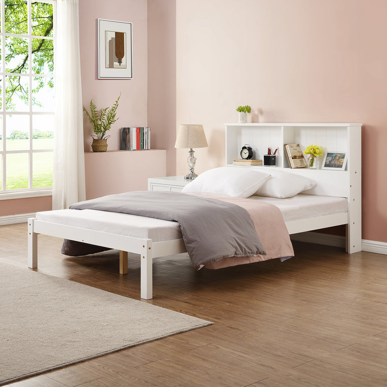 Elgin FSC Certified Wooden Bed Frame with Shelf Headboard in White UK Single