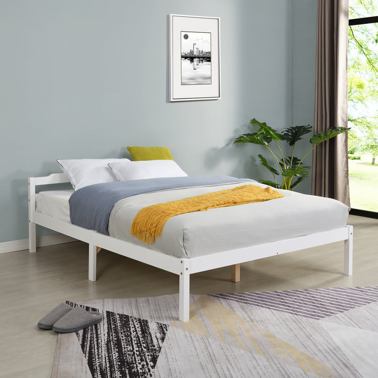 Curran FSC-Certified Solid Wood Bed Frame in White UK Sizes