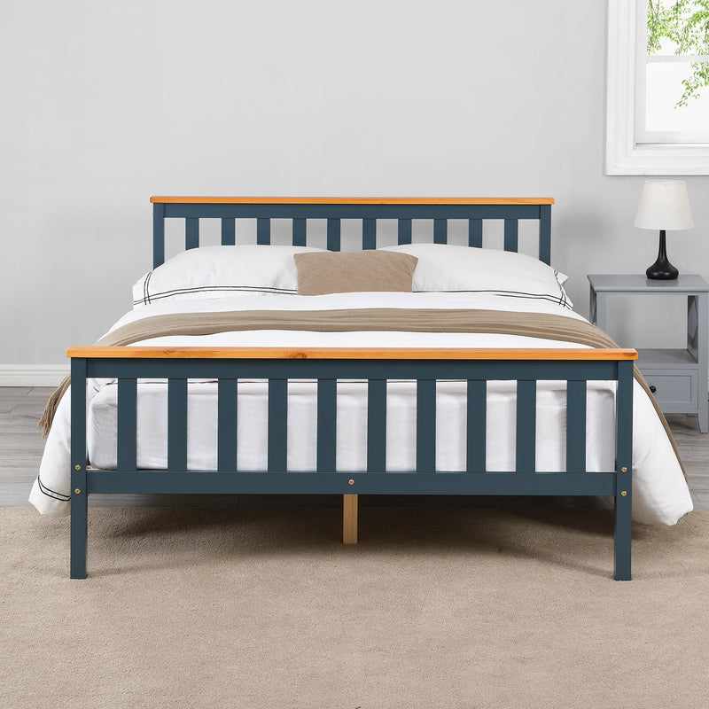 Marta FSC-Certified Solid Wooden Shaker Style Bed in Blue and Oak UK Double 2