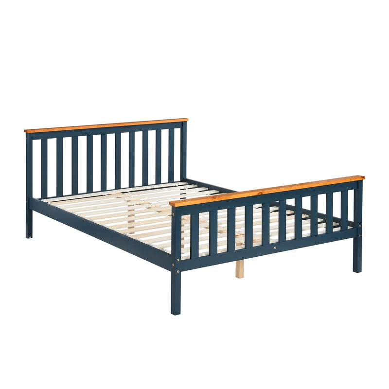 Marta FSC-Certified Solid Wooden Shaker Style Bed in Blue and Oak UK Double 3