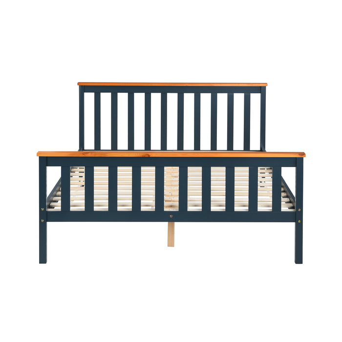 Marta FSC-Certified Solid Wooden Shaker Style Bed in Blue and Oak UK Double 4