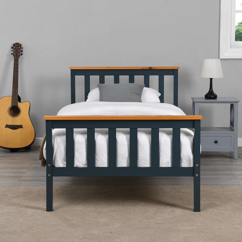 Marta FSC-Certified Solid Wooden Shaker Style Bed in Blue and Oak UK Single 2