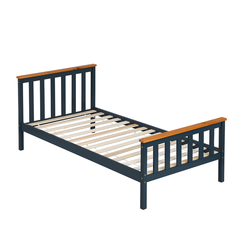 Marta FSC-Certified Solid Wooden Shaker Style Bed in Blue and Oak UK Single 3