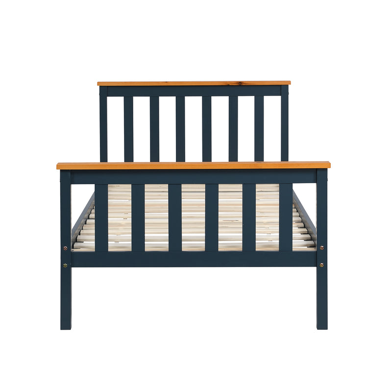 Marta FSC-Certified Solid Wooden Shaker Style Bed in Blue and Oak UK Single 4