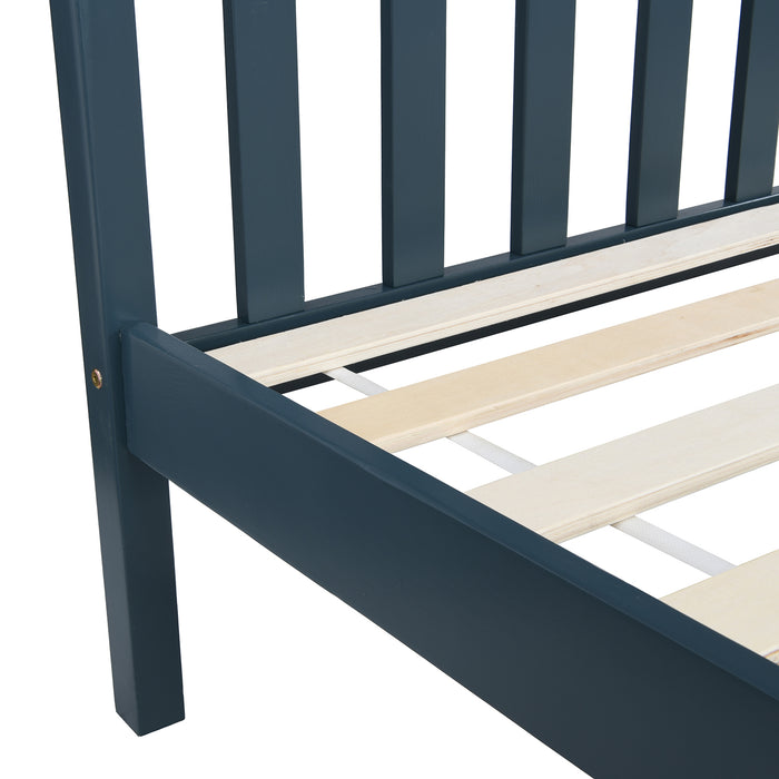 Marta FSC-Certified Solid Wooden Shaker Style Bed in Blue and Oak UK Double 7