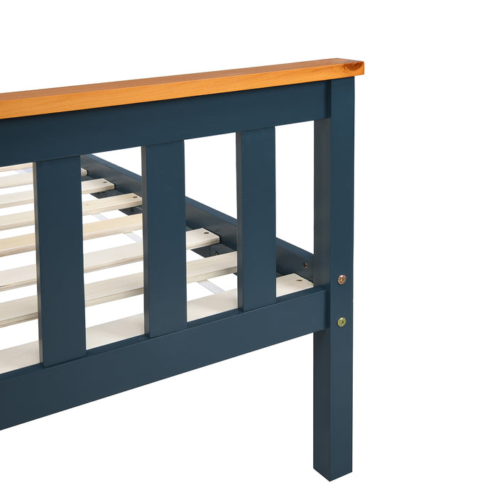 Marta FSC-Certified Solid Wooden Shaker Style Bed in Blue and Oak UK Double 9