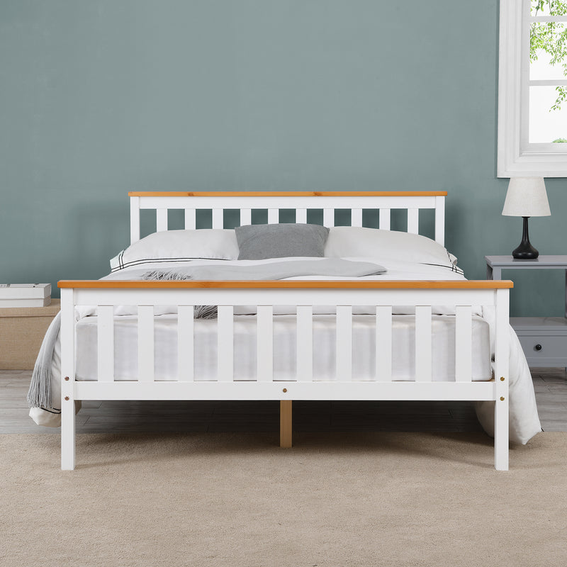 Marta FSC-Certified Solid Wooden Shaker Style Bed in White and Oak UK Double 2