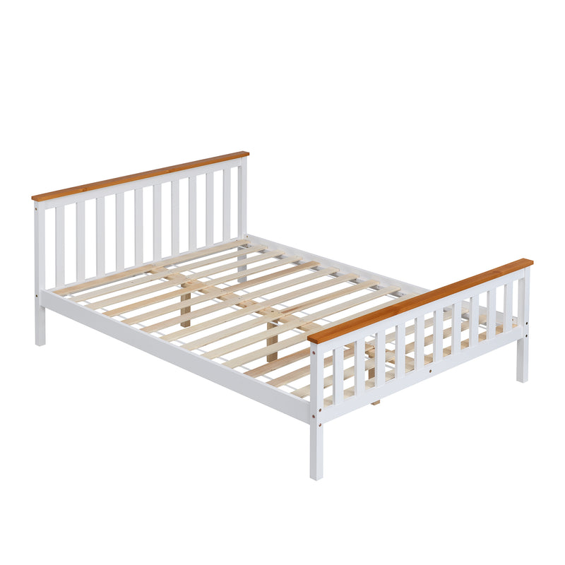 Marta FSC-Certified Solid Wooden Shaker Style Bed in White and Oak UK Double 3