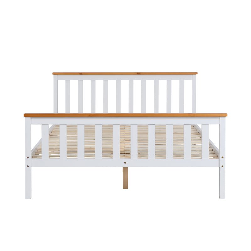 Marta FSC-Certified Solid Wooden Shaker Style Bed in White and Oak UK Double 4