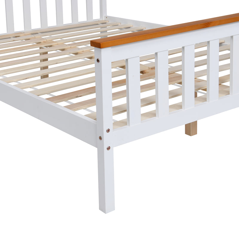 Marta FSC-Certified Solid Wooden Shaker Style Bed in White and Oak UK Double 6