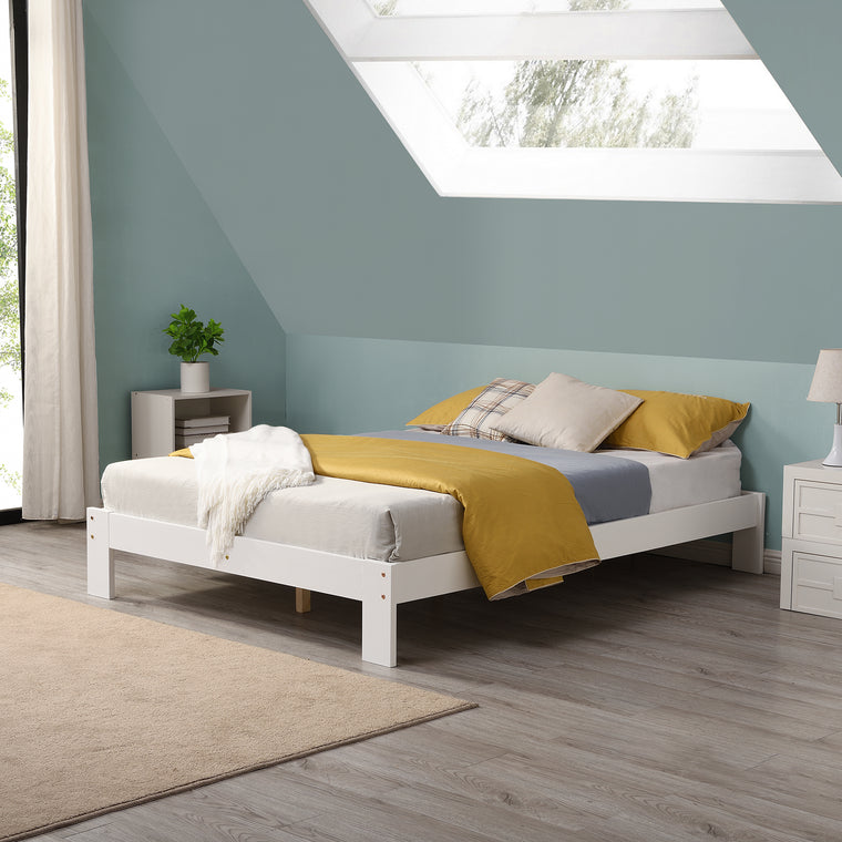 Melva FSC-Certified Wooden Bed Frame in White UK Sizes
