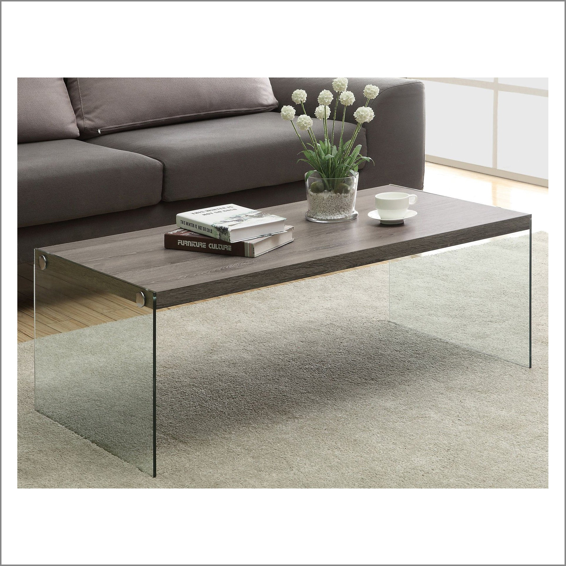 OTTO Modern Design Walnut Colour Wood and Glass Coffee Table Living Room Table