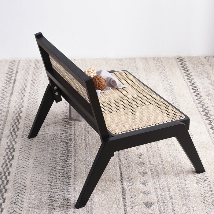 Pembroke Solid Wood Rattan Low Lounge Chair Black 5