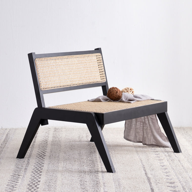 Pembroke Solid Wood Rattan Low Lounge Chair Black
