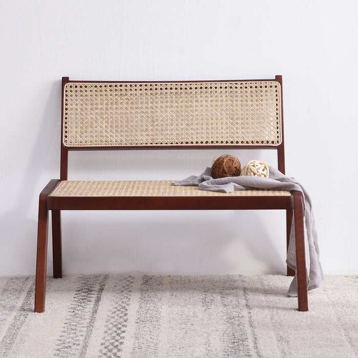 Pembroke Solid Wood Rattan Low Lounge Chair Walnut 2