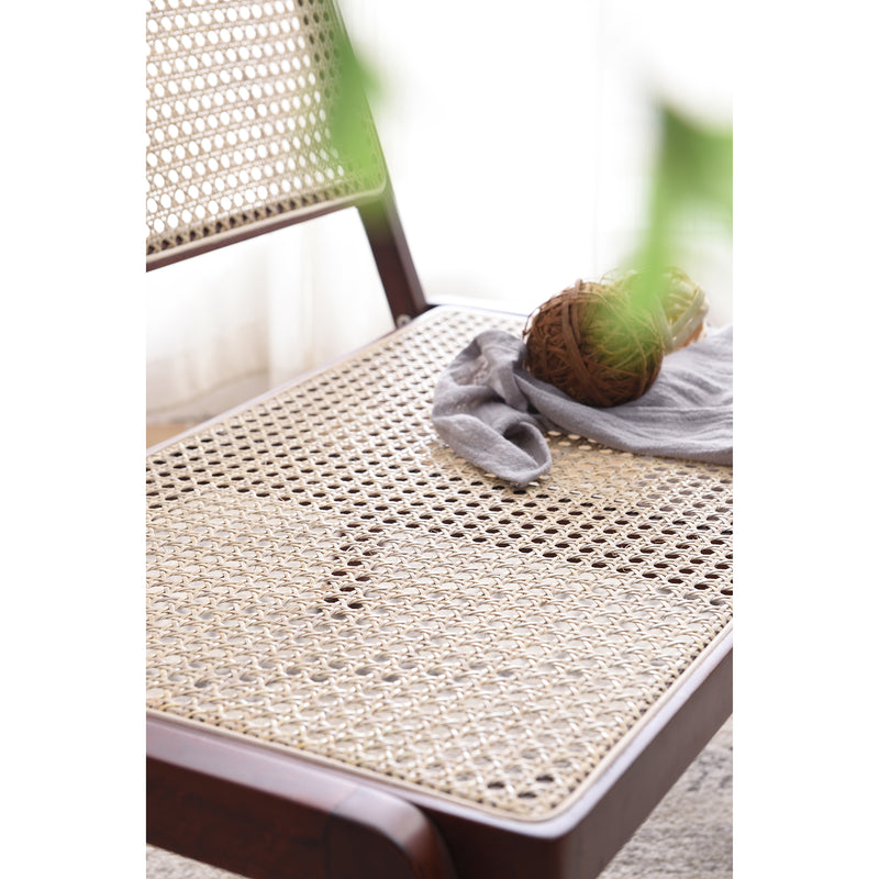 Pembroke Solid Wood Rattan Low Lounge Chair Walnut 5