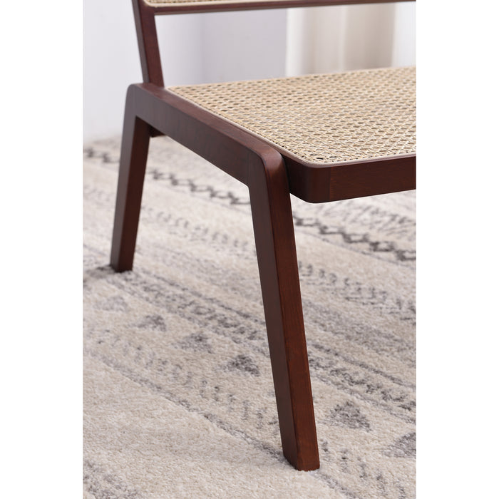 Pembroke Solid Wood Rattan Low Lounge Chair Walnut 7