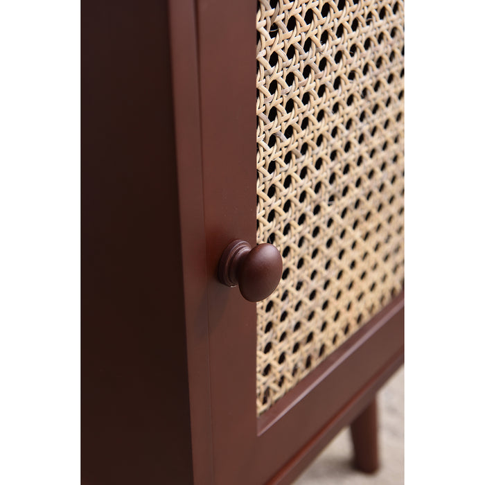 Pembroke Rattan Wooden Bedside Table Walnut 5