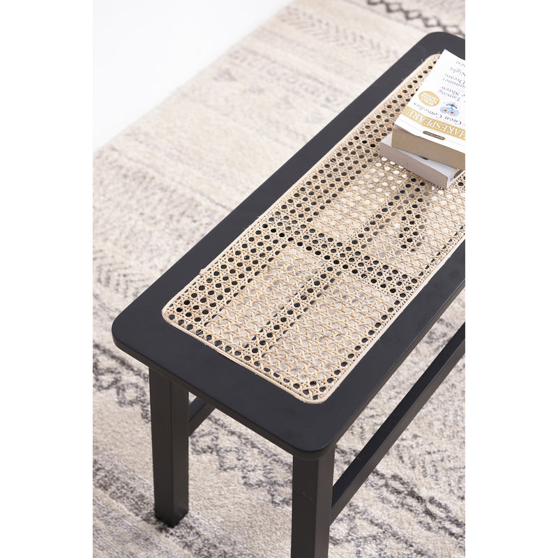 Pembroke Rattan Seat Solid Wood Bench Black 4