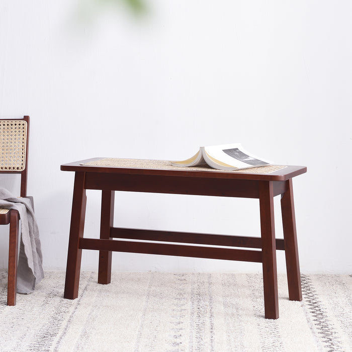 Pembroke Rattan Seat Solid Wood Bench Walnut 2