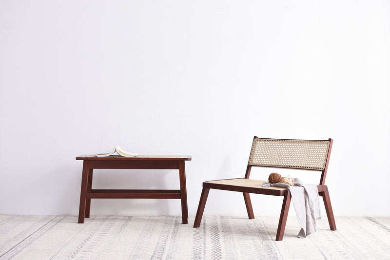 Pembroke Rattan Seat Solid Wood Bench Walnut 6
