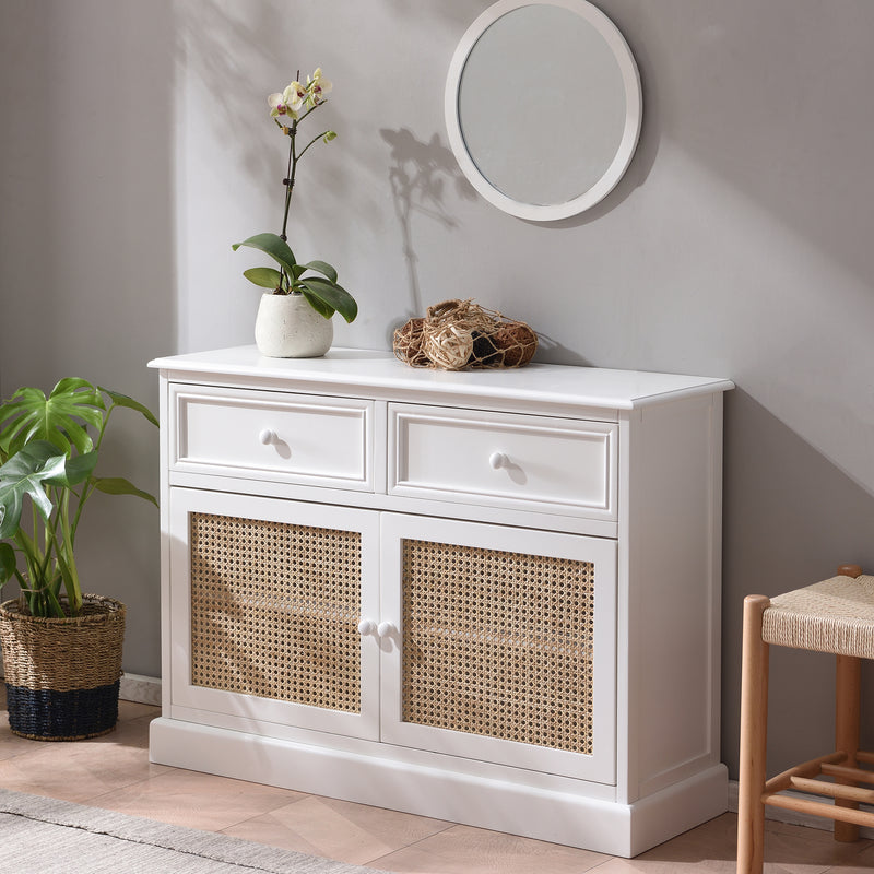 Homerton Solid Wood and Rattan 2 Door 2 Drawer Sideboard 2