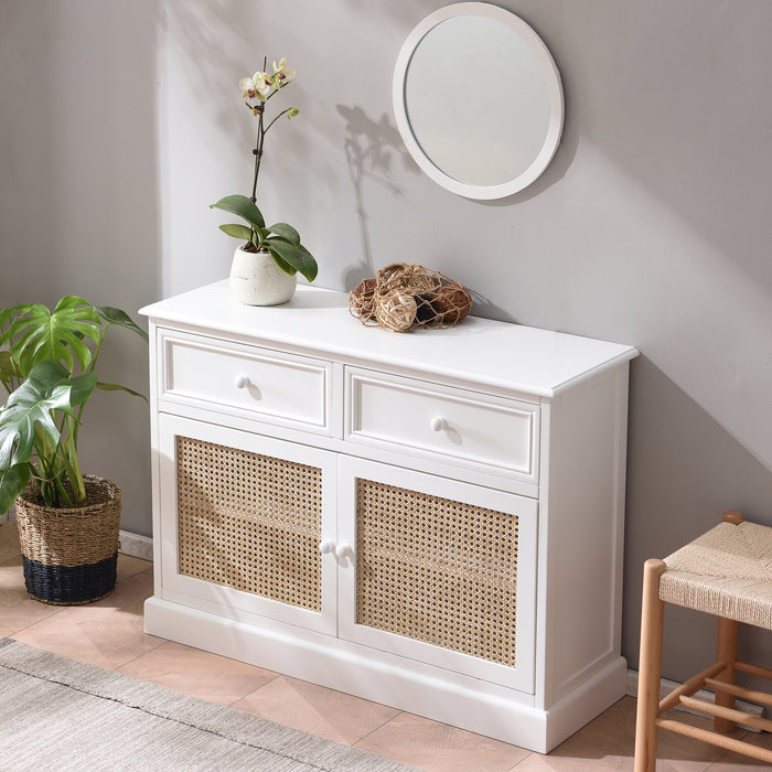 Homerton Solid Wood and Rattan 2 Door 2 Drawer Sideboard 3