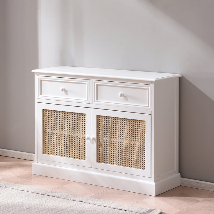 Homerton Solid Wood and Rattan 2 Door 2 Drawer Sideboard 4